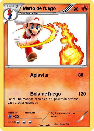 Pokémon Mario de fuego 4 4 - Aplastar - Mi carta pokémon