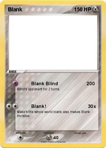Pok mon Blank Blank Blind 200 My Pokemon Card