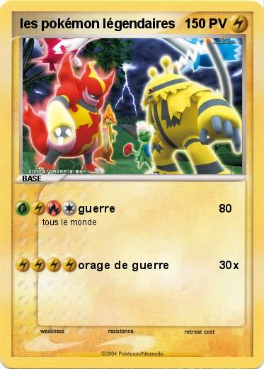Pok mon les pokemon legendaires 1 1 guerre ma carte - Pokemon legendaire pokemon y ...