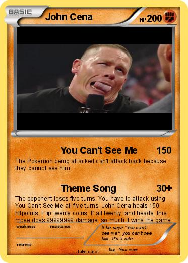 Pokémon John Cena 3021 3021 You Cant See Me My Pokemon Card