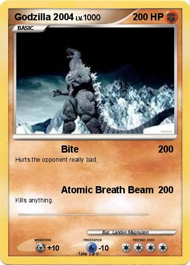 Pok 233 Mon Godzilla 2004 4 4 Bite My Pokemon Card