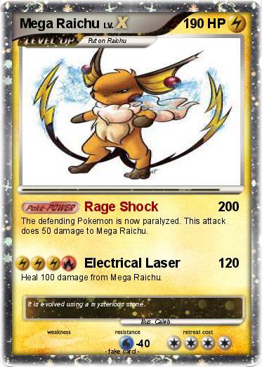 Pok mon mega raichu 12 12 rage shock my pokemon card - Pokemon x raichu mega evolution ...