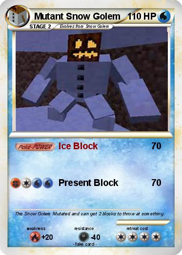 Pok 233 Mon Mutant Snow Golem 4 4 Ice Block My Pokemon Card