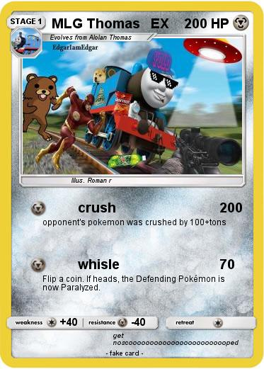 Pokémon Mlg Thomas Ex Crush My Pokemon Card