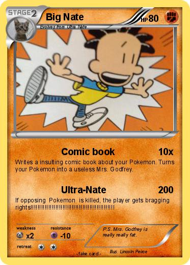 Pok 233 Mon Big Nate 65 65 Comic Book My Pokemon Card
