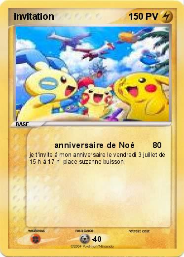 Souvent Pokémon invitation 2 2 - anniversaire de Noé - Ma carte Pokémon UH48