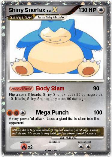 Pokémon Shiny Snorlax 1 1 - Body Slam - My Pokemon Card