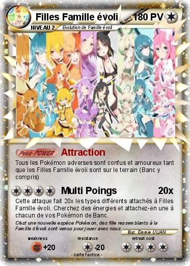 Pok mon filles famille evoli attraction ma carte pok mon - Famille evoli pokemon ...