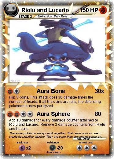 Pok 233 Mon Riolu And Lucario Aura Bone My Pokemon Card
