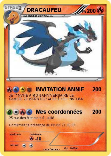 Extrêmement Pokémon DRACAUFEU 2223 2223 - INVITATION ANNIF - Ma carte Pokémon FI23