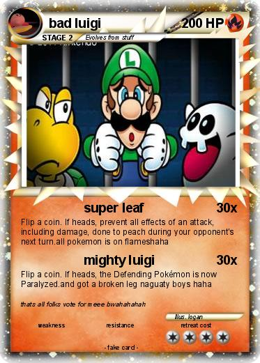 Pok 233 Mon Bad Luigi Super Leaf My Pokemon Card