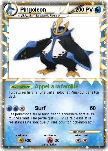 Pok mon pingoleon 387 387 appel a la famille ma carte pok mon - Pokemon pingoleon ...