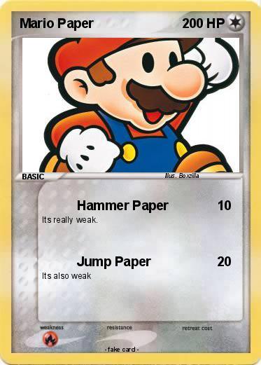 Pokémon Mario Paper 6 6 Hammer Paper My Pokemon Card