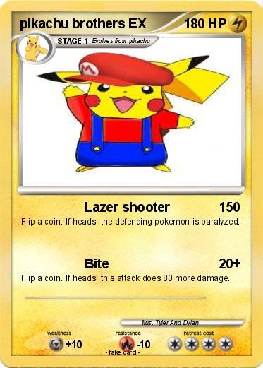 PokEmon pikachu brothers EX Lazer shooter My Pokemon Card