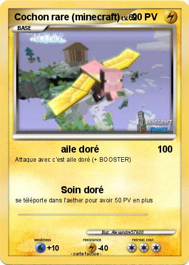 Coloriage Cochon Minecraft.Pokemon Cochon Rare Minecraft Aile Dore Ma Carte Pokemon