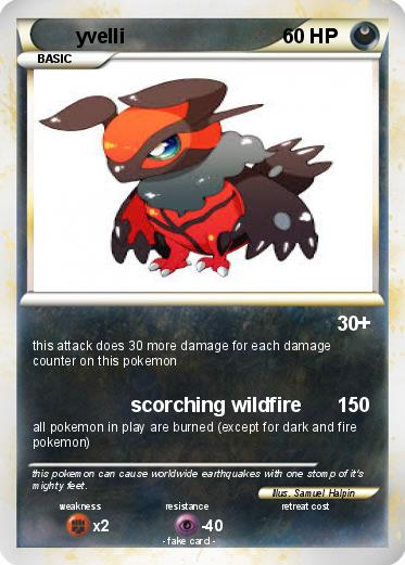 Pokémon yvelli - scorching wildfire - My Pokemon Card