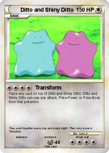 Pokémon Ditto and Shiny Ditto - Transform - My Pokemon Card Pokemon Ditto Transform