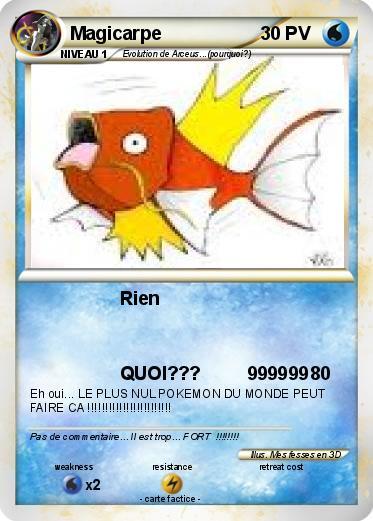 Pok mon magicarpe 75 75 rien ma carte pok mon - La plus forte carte pokemon du monde ...