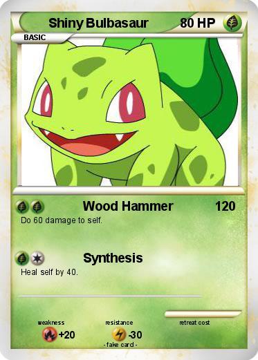 Pokémon Shiny Bulbasaur 6 6 - Wood Hammer - My Pokemon Card