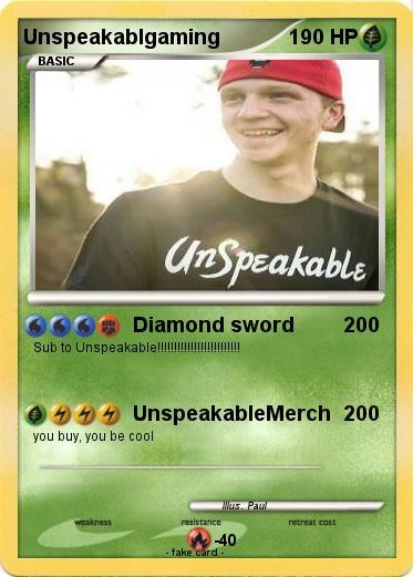 Pokémon Unspeakablgaming - Diamond sword - My Pokemon Card