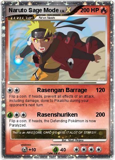 Pokemon Naruto Sage Mode 40 40 Rasengan Barrage My Pokemon Card