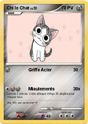 Pok mon chi le chat griffe acier ma carte pok mon - Dessin de chi ...