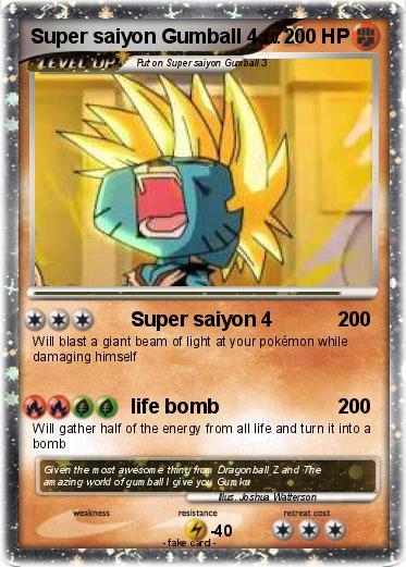 pokémon super saiyon gumball 4 4 super saiyon 4 my pokemon card