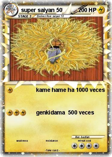 pokémon super saiyan 50 50 kame hame ha 1000 veces my pokemon card