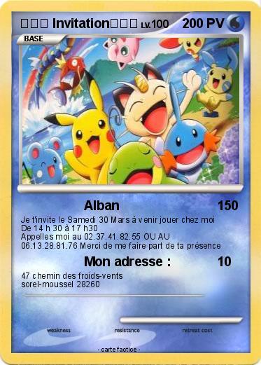 Préférence Pokémon Invitation 18 18 - Alban - Ma carte Pokémon UI15
