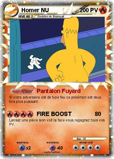 Pok mon homer nu 8 8 pantalon fuyard ma carte pok mon - Homer simpson nu ...