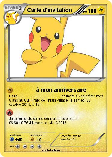 Souvent Pokémon Carte d invitation 4 4 - à mon anniversaire - Ma carte Pokémon UH48