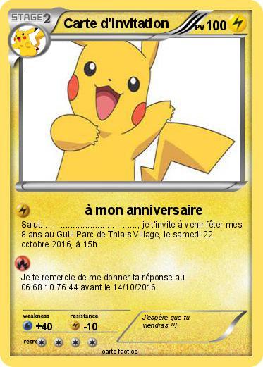 souvent Pokémon Carte d invitation 4 4 - à mon anniversaire - Ma carte Pokémon PH14