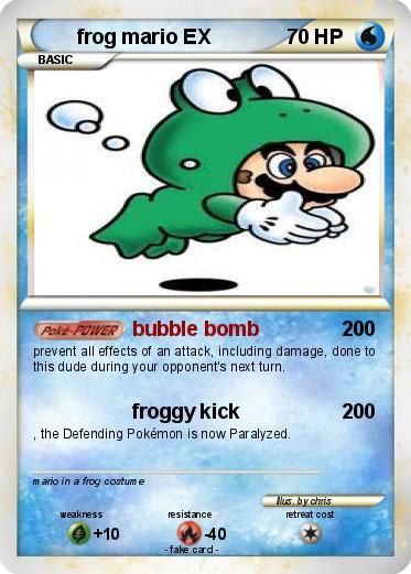 pokémon frog mario ex bubble bomb my pokemon card