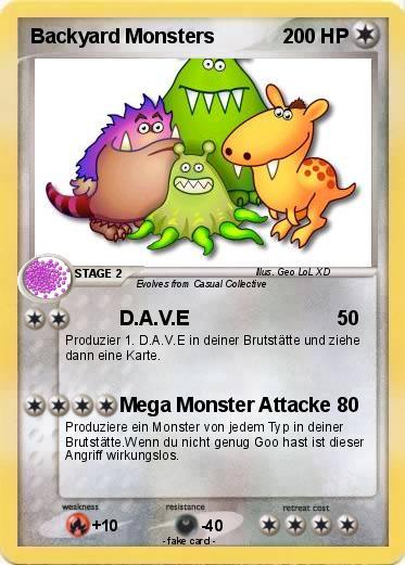 Pokemon Backyard Monsters 1 1 D A V E My Pokemon Card