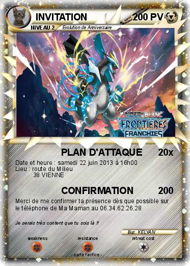 Exceptionnel Pokémon INVITATION 23 23 - PLAN D'ATTAQUE - Ma carte Pokémon XW29