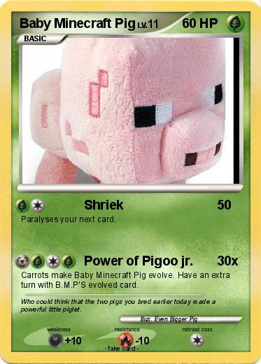 Pok 233 Mon Baby Minecraft Pig Shriek My Pokemon Card
