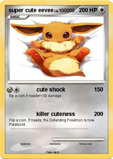 pokémon super cute eevee 5 5 cute shock my pokemon card