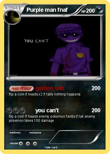 Pok 233 Mon Purple Man Fnaf Golden Suit My Pokemon Card