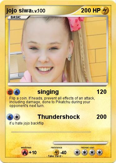 Pok 233 Mon Jojo Siwa 27 27 Singing My Pokemon Card