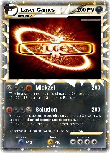Bien connu Pokémon Laser Games - Mickael - Ma carte Pokémon VU11