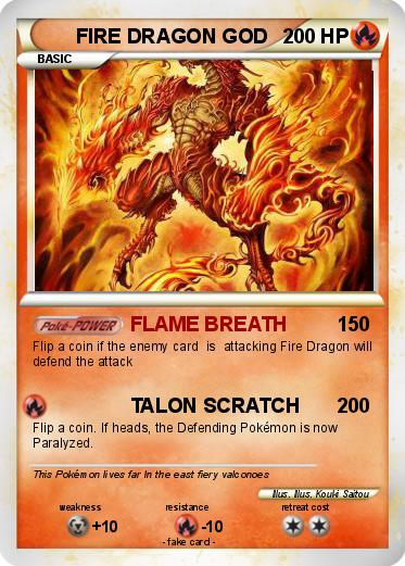 pok233mon fire dragon god 2 2 flame breath my pokemon card