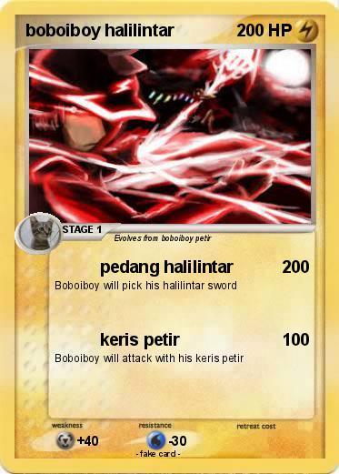 Pokémon Boboiboy Halilintar 19 19 Pedang Halilintar My Pokemon Card