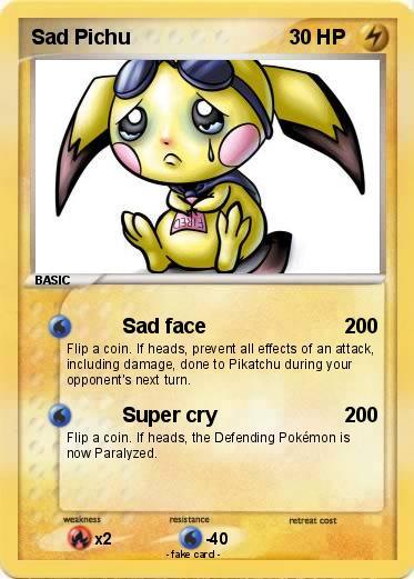 Pok 233 Mon Sad Pichu 2 2 Sad Face My Pokemon Card