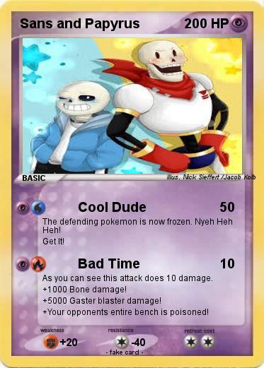 pokémon sans and papyrus 17 17 cool dude my pokemon card