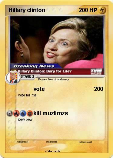 pokémon hillary clinton 56 56 vote my pokemon card