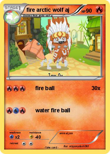 Pokémon Fire Arctic Wolf Aj Fire Ball My Pokemon Card