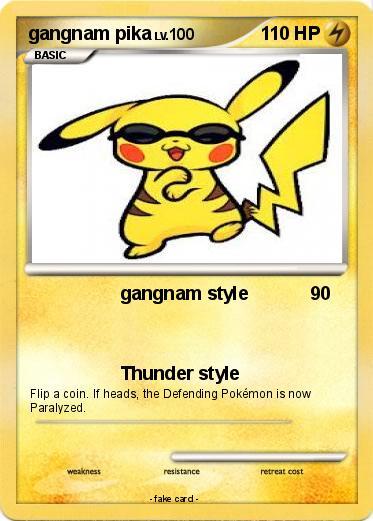 pokémon gangnam pika gangnam style my pokemon card