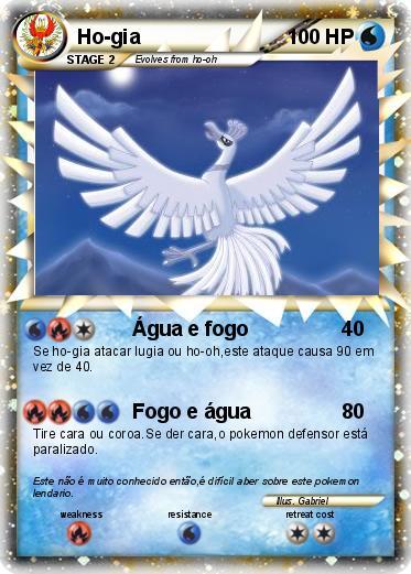 pokémon ho gia 1 1 Água e fogo my pokemon card