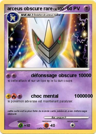 Pok mon arceus obscure rare 1 1 d fonssage obscure 10000 ma carte pok mon - Tout les carte pokemon ex du monde ...