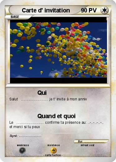 Souvent Pokémon Carte d invitation - Qui - Ma carte Pokémon CS67